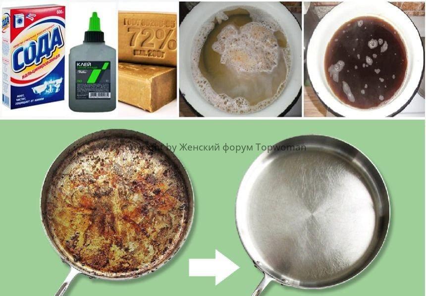 Чистка сковородок хозяйственным мылом, клеем и содой