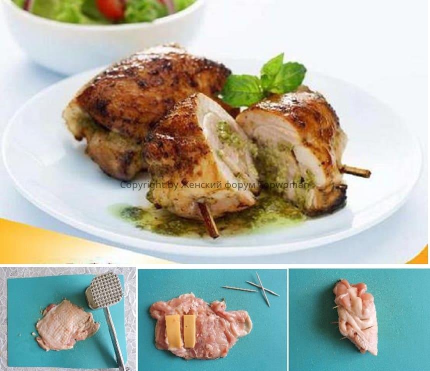 Фаршированные куриные бёдра без кости в духовке