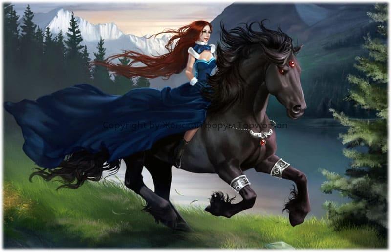 Девушке снится как она скачет на чёрной лошади