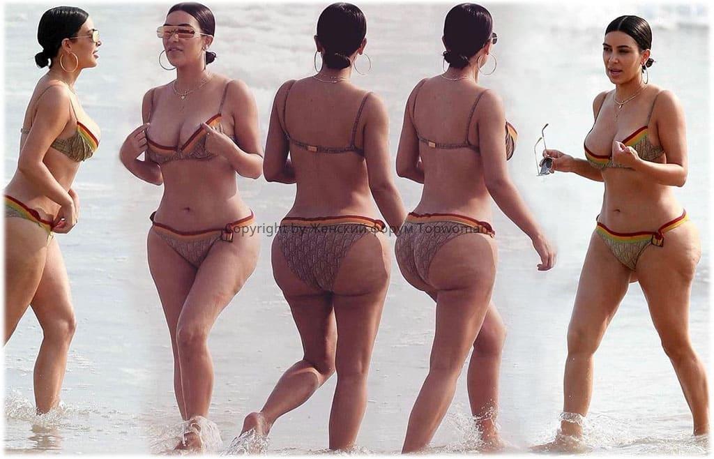 Ким Кардашьян фото в купальнике без фотошопа