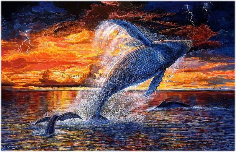 кит, выпрыгивающий из воды