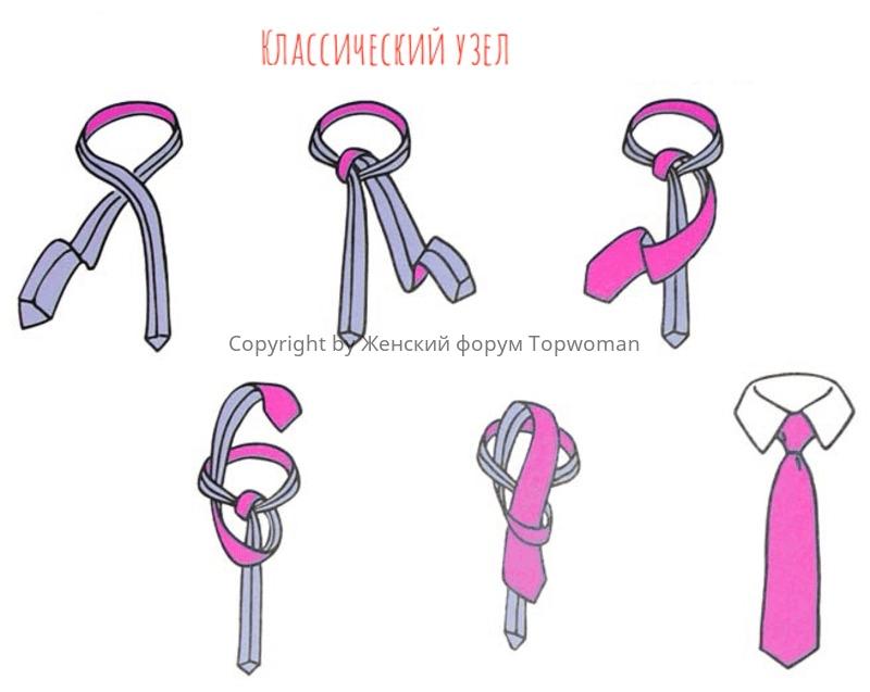 Классический узел на галстук