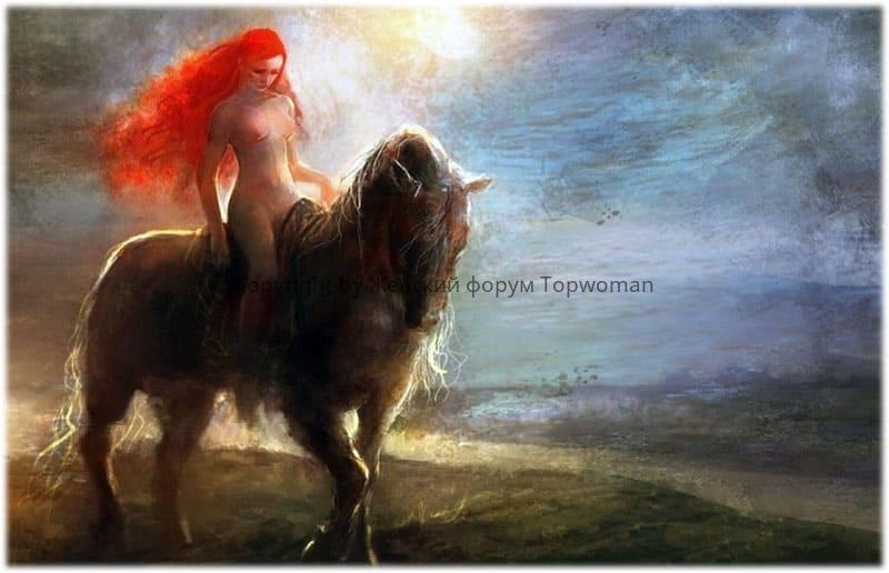 Женщина на гнедой лошади пробирается ночью через лес