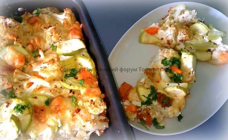 Овощное рагу с кабачками и цветной капустой в духовке