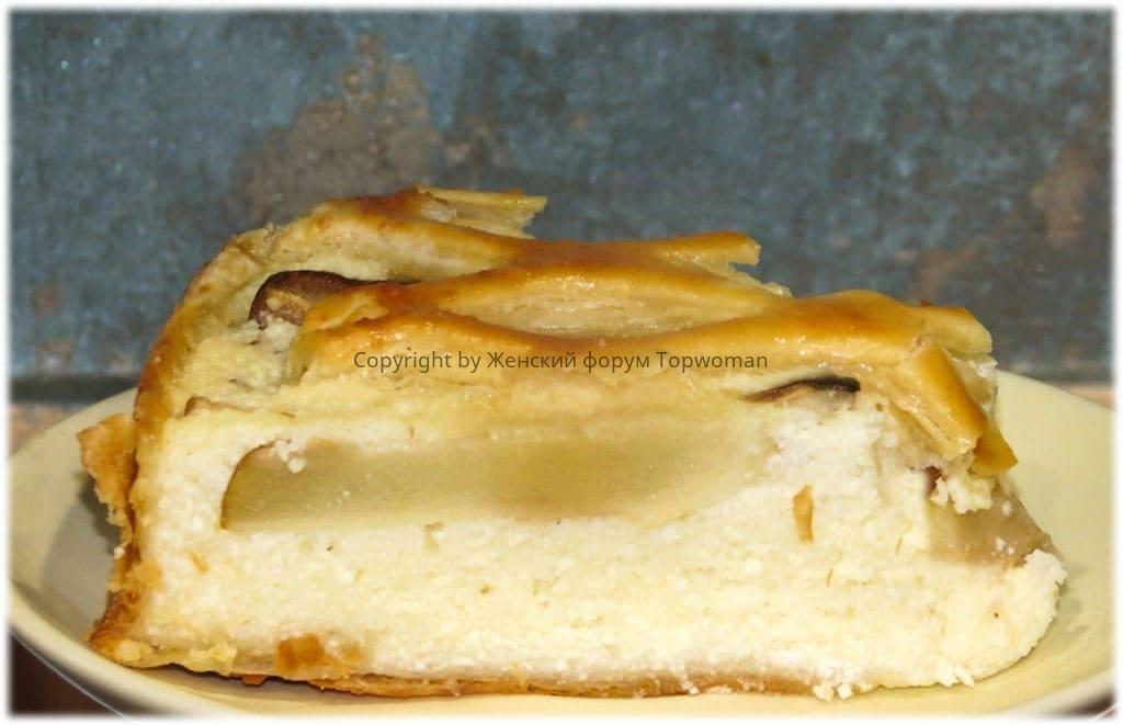 Пирог с грушей и творогом в духовке