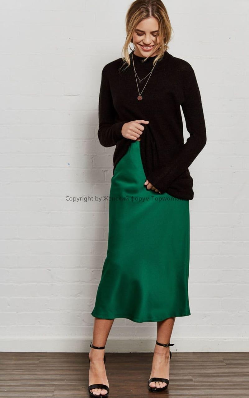 С чем сочетать изумрудного цвета юбку