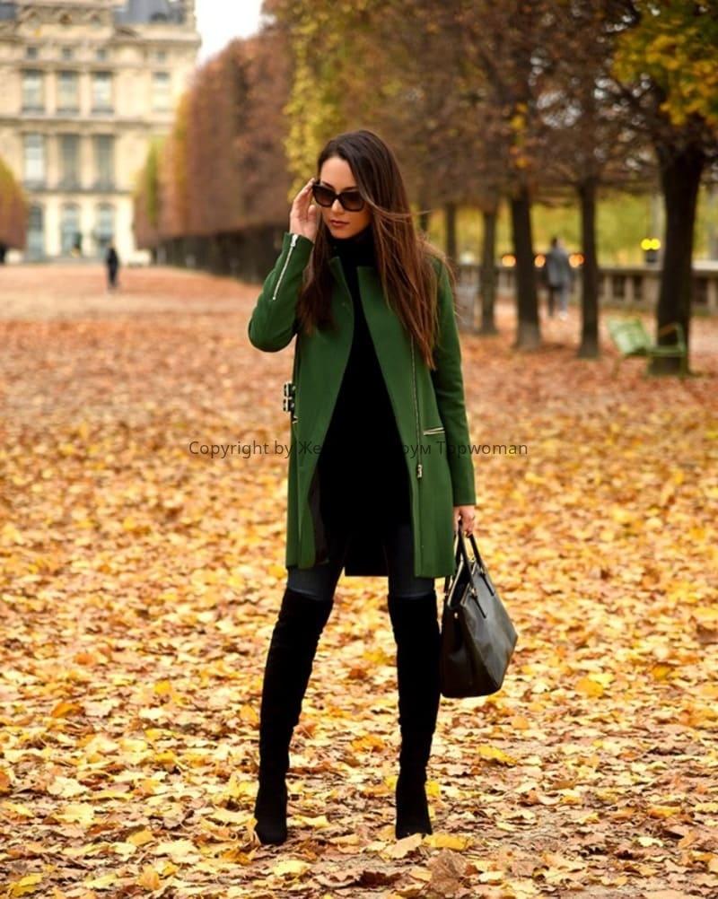 С чем носить пальто изумрудного цвета