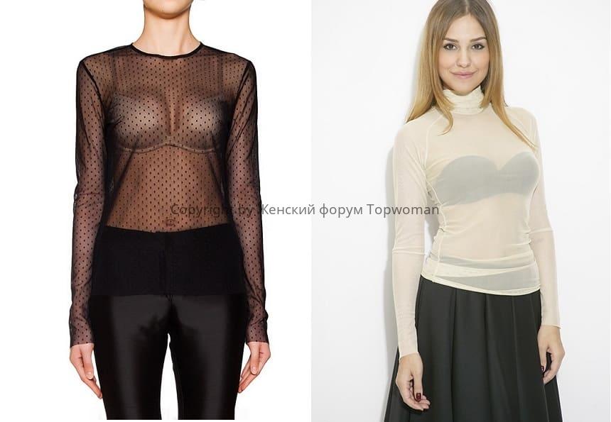 С чем девушке носить прозрачную чёрную водолазку