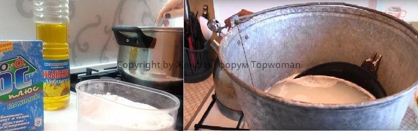 Чистка сковороды растительным маслом и стиральным порошком