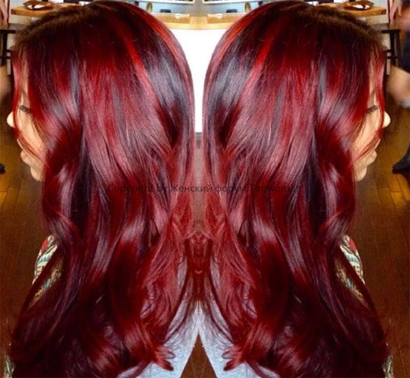 Волосы тёмно-вишнёвого цвета